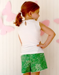 green seaside girls side pocket shorts