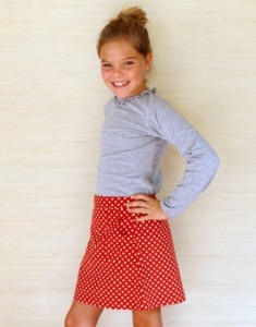 harper skirt - dots on red corduroy