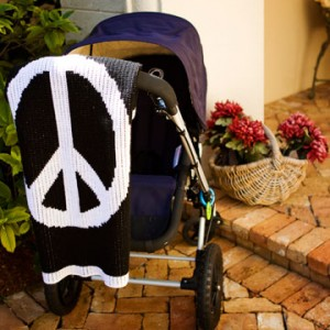 large peace sign stroller blanket